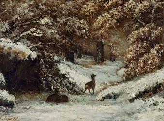 La remise des chevreuils en hiver (Gustave Courbet) - Muzeo.com