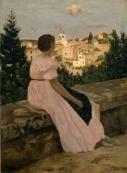 La robe rose ou Vue de Castelnau le Lez (Herault) (Frédéric Bazille) - Muzeo.com