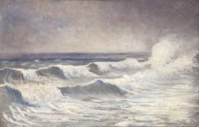 La vague à Dielette (Osbert Alphonse) - Muzeo.com