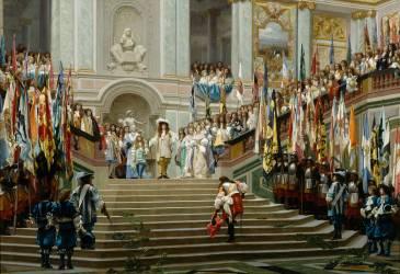 L'Accueil du Grand Condé à Versailles par Louis XIV (Gerôme Jean Léon) - Muzeo.com