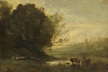 Le pâtre devant l'étang (Corot Jean-Baptiste Camille) - Muzeo.com