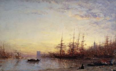 Le port de Marseille au coucher du soleil (Ziem Félix) - Muzeo.com
