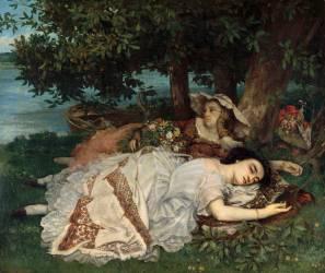 Les demoiselles du bord de la Seine (Gustave Courbet) - Muzeo.com