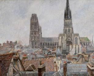 Les toits du vieux Rouen, temps gris, la cathédrale 1896 (Pissarro Camille) - Muzeo.com