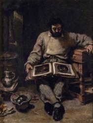 Marc Trapadoux examinant un livre d'estampes/gravures (Gustave Courbet) - Muzeo.com