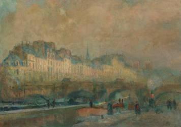 Paris, l'écluse de la Monnaie, soleil d'hiver ou vue du pont Neuf et de l'île de la Cité (Lebourg Albert) - Muzeo.com