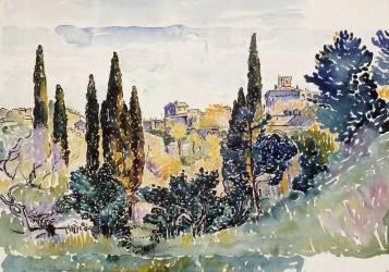 Paysage italien avec des cyprès des maisons sur une hauteur et un palais (Henri-Edmond Cross) - Muzeo.com