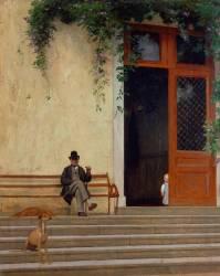 Pierre et Jean Gérôme, père et fils de l'artiste sur le seuil de sa maison de campagne (Gerôme Jean Léon) - Muzeo.com