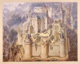 Pierrefonds, château, vue cavalière du château en partie restauré (Viollet-Le-Duc Eugène) - Muzeo.com