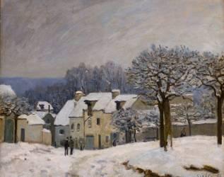 Place du Chenil à Marly, effet de neige (Alfred Sisley) - Muzeo.com