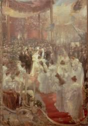 Pose de la première pierre du Pont Alexandre III à Paris par le Tsar Nicolas II, l'Impératrice et le Président de la République Félix Faure, (Roll Alfred) - Muzeo.com