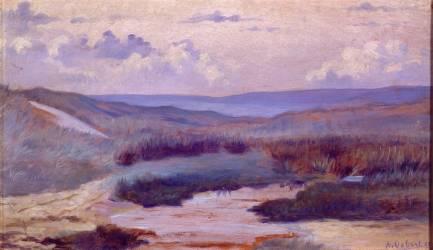 Une mare dans les dunes, le soir ; Siouville, plage de Diélette aux environs de Cherbourg (Osbert Alphonse) - Muzeo.com