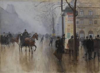 Voitures sur le Boulevard des Italiens. (Béraud Jean) - Muzeo.com