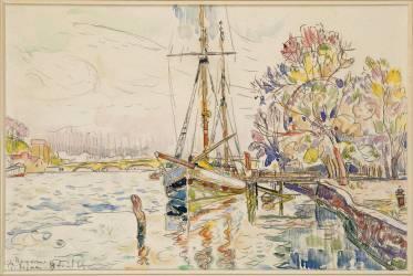 Vue de Bayonne, l'Adour avec un voilier, 9 avril 1924 (Paul Signac) - Muzeo.com
