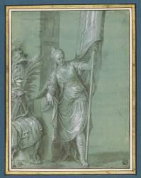 Femme debout, un étendard dans la main gauche : la Victoire (Véronèse Paul) - Muzeo.com