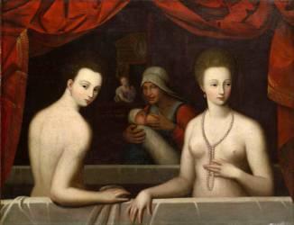 Gabrielle d'Estrées et sa soeur, la duchesse de Villars (anonyme) - Muzeo.com