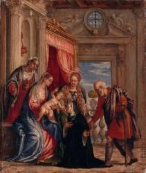 La Sainte Famille avec sainte Elisabeth, La Madeleine et une bénédictine agenouillée (Véronèse Paul) - Muzeo.com