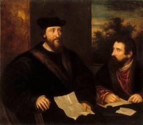 Le cardinal Georges d'Armagnac, ambassadeur à Venise et son secrétaire G. Philandrier (Titien) - Muzeo.com