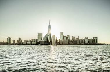United States, USA, New York City, Manhattan, Lower Manhattan, Lower Manhattan skyline with the Financial District the Freedom Tower at dawn (Bartuccio Antonino) - Muzeo.com