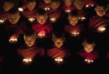 Young Buddhist monks praying by candlelight (Stulberg Scott) - Muzeo.com