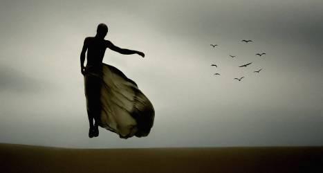 Man flying in mid-air (Bernardo Andre) - Muzeo.com