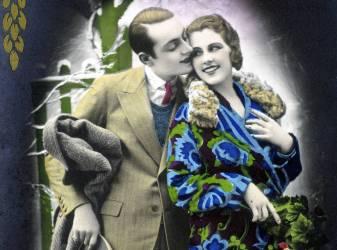 Jeune homme embrassant une jeune femme - carte postale (anonyme) - Muzeo.com