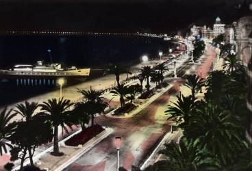 La promenade des Anglais de nuit a Nice en 1950. (anonyme) - Muzeo.com