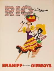 Braniff Airways Travel Poster, Rio de Janiero, Dancer (David Pollack) - Muzeo.com