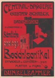 Central-Drogerie Gustav Schreck, Baden-Baden... Sämtliche Photogr. Bedarfsartikel... (anonyme) - Muzeo.com
