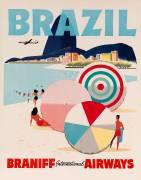 Braniff Airways Travel Poster, Brazil (David Pollack) - Muzeo.com