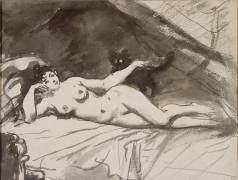 Femme nue, étendue sur un lit, la femme au chat (Manet Edouard) - Muzeo.com