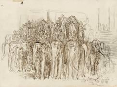 Etude d'éléphants pour le Triomphe d'Alexandre (Moreau Gustave) - Muzeo.com