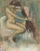 Femme se peignant (Pierre Georges Jeanniot) - Muzeo.com