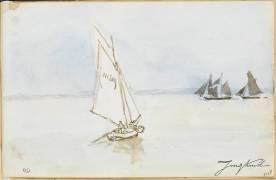 Navires à voiles en pleine mer (Jongkind Johan Barthold) - Muzeo.com
