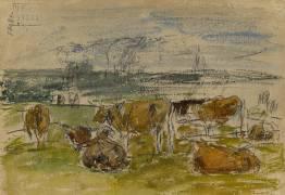 Troupeau dans un pré (Eugène Boudin) - Muzeo.com