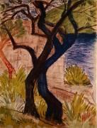 Trees before a Bridge (Otto Mueller) - Muzeo.com