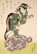 Courtesan with musical instrument (Utagawa Kuniyoshi) - Muzeo.com