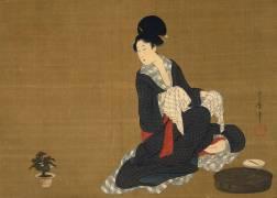 Woman at her morning toilette (Utamaro Kitagawa) - Muzeo.com