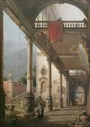 Capriccio of a Colonnade (Antonio Canaletto) - Muzeo.com
