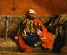 Turc fumant, assis sur un divan (Eugène Delacroix) - Muzeo.com