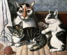 Cat and Kittens (Ecole américaine) - Muzeo.com