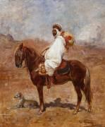 An Arab on a Horse in a Desert Landscape (Henri Emilien Rousseau) - Muzeo.com