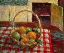 Basket of fruit on a table (Pierre Bonnard) - Muzeo.com