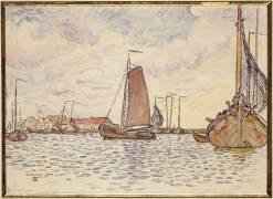 Bateaux à Volendam (Theo van Rysselberghe) - Muzeo.com