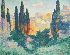 Les cyprès à Cagnes (Henri-Edmond Cross) - Muzeo.com
