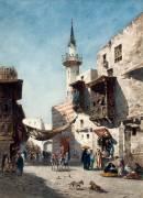 Place dans une ville orientale animée de figures (Narcisse Berchère) - Muzeo.com