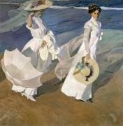 Strolling along the Seashore (Joaquin Sorolla y Bastida) - Muzeo.com