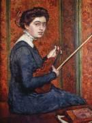 Woman with Violin : portrait of Renée Druet (Theo van Rysselberghe) - Muzeo.com