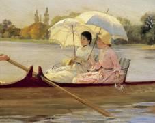 Women on Boats on the Thames (Giuseppe de Nittis) - Muzeo.com