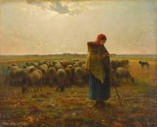 Bergère avec son troupeau (Millet Jean-François) - Muzeo.com